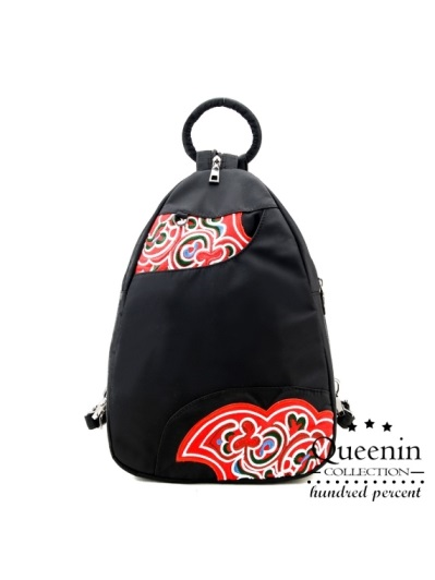 DF Queenin-復古藝術風尼龍款可單肩後背包