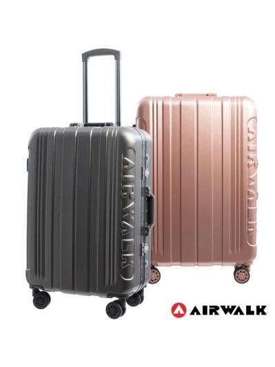 AIRWALK -金屬森林木絲鋁框復古壓扣行李箱ABS+PC鋁框箱24吋-共2色