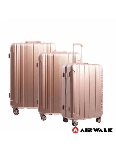AIRWALK -金屬森林木絲鋁框復古壓扣行李箱ABS+PC鋁框箱3件組-共2色