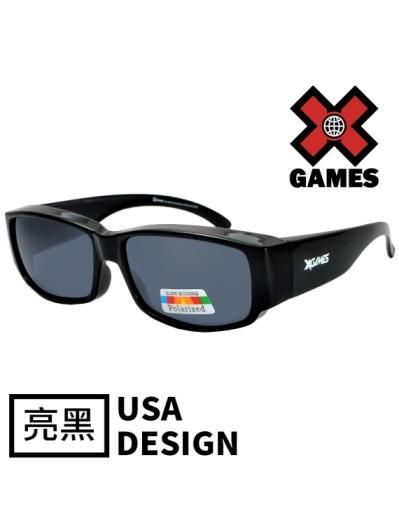 【X Games外掛式】小版-UV400偏光包覆式太陽眼鏡 運動墨鏡1082-2