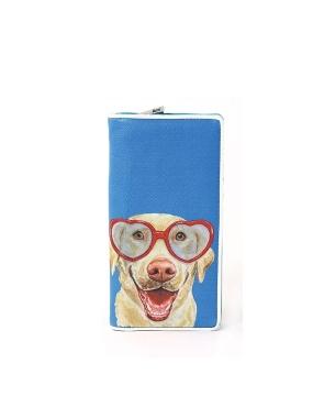 愛雪莉 美國設計-戴著愛心眼鏡的拉不拉多手繪風長夾 藍色 Ashley. M