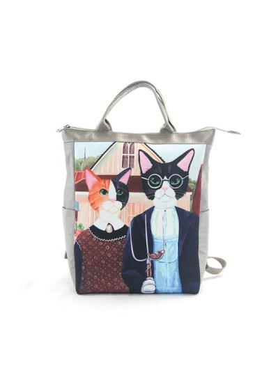 愛雪莉 美國設計-貓先生貓小姐童趣尼龍後背包 Ashley.M