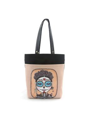 愛雪莉 美國設計-頭戴花飾的骷髏女孩與黑貓童趣帆布托特包 Ashley.M