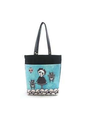 愛雪莉 美國設計-穿裙子的女孩與骷髏黑貓童趣帆布托特包 Ashley.M