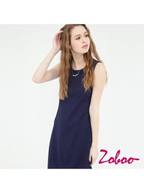 ZOBOO-圓領素面修身洋裝小禮服(Q5041)
