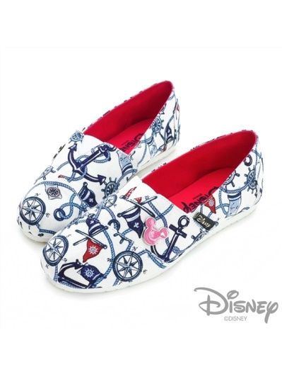 DISNEY 熱情威尼斯-米奇海軍風懶人鞋-白