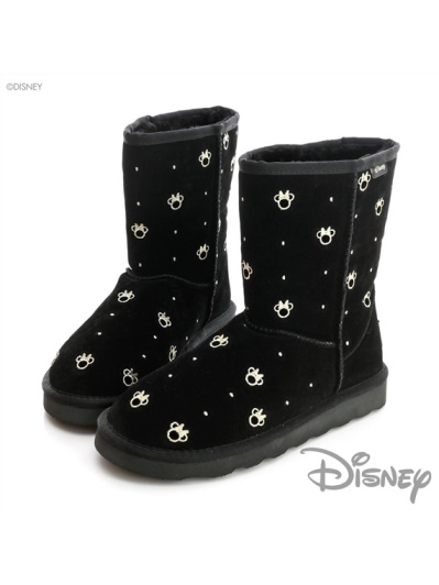 DISNEY 俏麗甜心-米妮造型中筒雪靴-黑