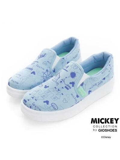 DISNEY 青春童話-俏皮塗鴉手繪懶人鞋-藍