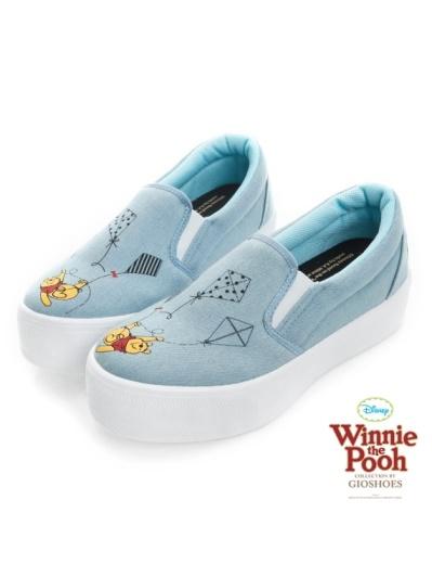DISNEY 童趣印象-維尼風箏圖案厚底懶人鞋-藍