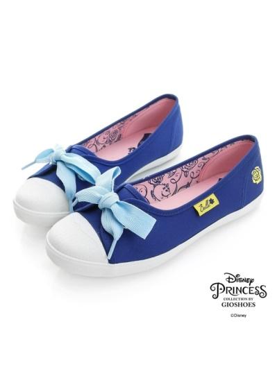DISNEY 美女與野獸系列-玫瑰圖案帆布懶人鞋-藍