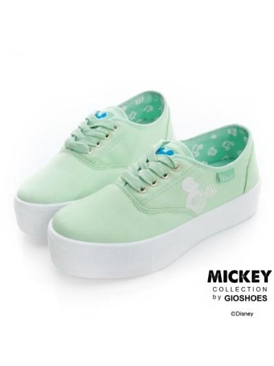 DISNEY 清甜童話-可愛米奇厚底休閒鞋-綠