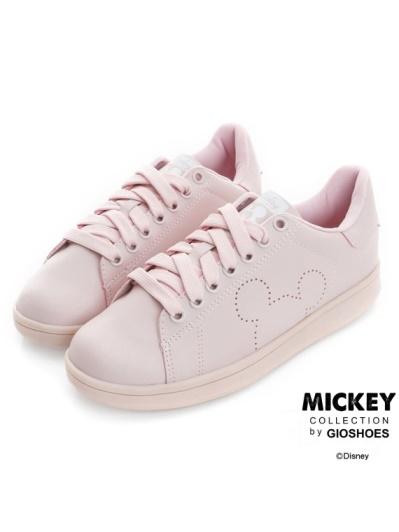 DISNEY 甜蜜爆棚-素色皮質綁帶休閒鞋-粉