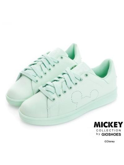 DISNEY 甜蜜爆棚-素色皮質綁帶休閒鞋-綠