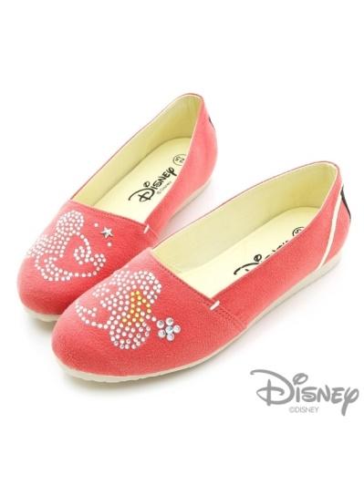 DISNEY 甜蜜約定-水鑽裝飾麂皮樂福鞋-桔紅