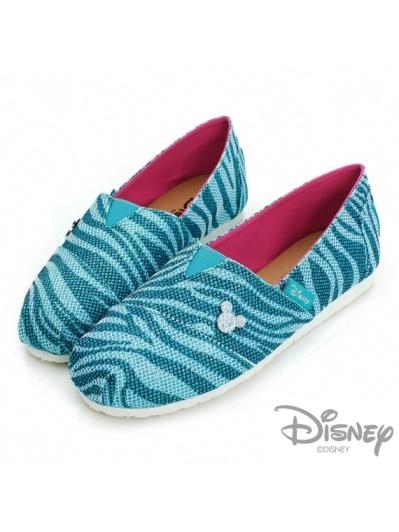 DISNEY 魅力狂想曲-亮蔥斑馬紋米奇懶人鞋-藍