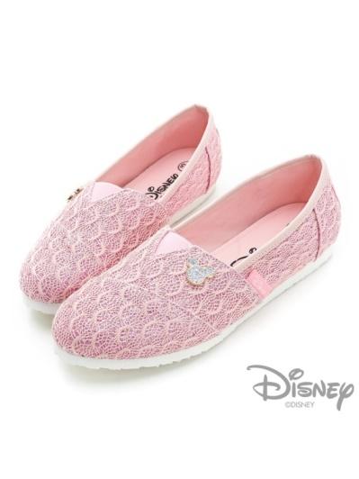 DISNEY 爛漫童話-耀眼亮蔥針織蕾絲懶人鞋-粉