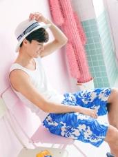 男款熱帶印花快乾海灘褲‧2色