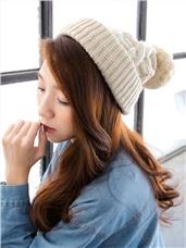 大毛球造型麻花針織毛線帽‧6色