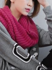 素色針織圍巾/圍脖