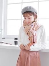 拼色細格紋流蘇圍巾