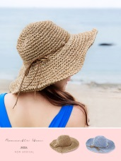 可調鐵絲帽沿麂皮針織草帽