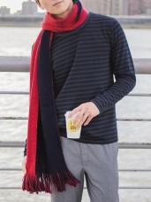 情侶款~雙色漸層面流蘇圍巾