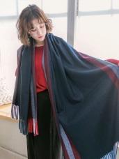質感線條紋配色圍巾