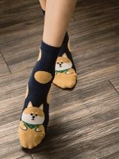 韓國胖QQ動物印圖點點襪