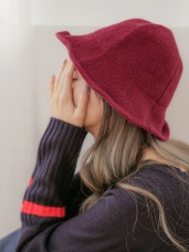 簡風可調鐵絲帽沿針織漁夫帽