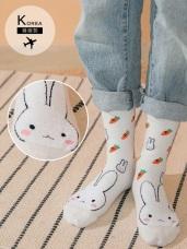 韓國製.三花喵與小白兔中筒襪