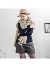 質感拼色造型織紋抽鬚圍巾.2色