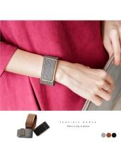 造型菱紋金屬方釦手環.2色