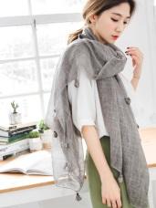 透光感方格織紋流蘇薄圍巾