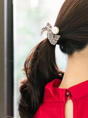 格紋綴珍珠髮圈