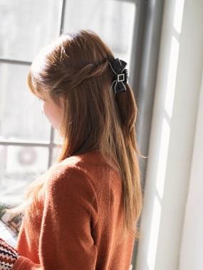方型水鑽蝴蝶結造型髮夾