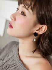 簡約黑毛感圓圈設計珍珠耳環