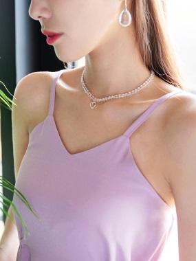 心型綴飾小珍珠雙層短鏈