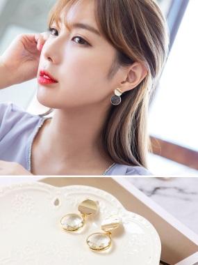 水晶鑲鑽金邊耳環