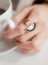 黑色理石幻想半圓指環戒指