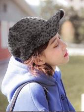 毛料面流行感豹纹棒球帽