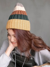 內絨毛繽紛配色條紋毛帽
