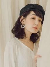 質感純色軟皮貝蕾帽