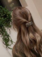 時髦豹紋方型髮夾