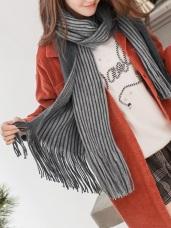 優雅雙面拼色條紋流蘇圍巾