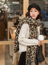 時髦豹紋印花流蘇圍巾