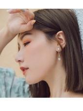 珍珠幾何單鑽耳針式耳環