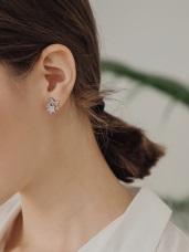 鑲鑽層次星星耳針/耳夾耳環