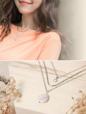 扁珍珠層次感水鑽點綴項鍊