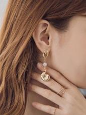 海螺貝殼珍珠垂墜耳針式耳環