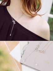 簡約設計蝴蝶結單鑽綴飾項鍊
